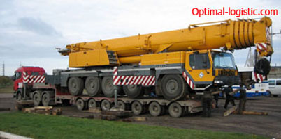 Transportation of crane (truck crane)